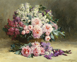 Lilas y peonías con irises Lámina giclée por Pauline Caspers