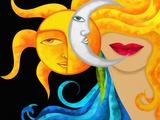 Viso Con Sole E Luna Print by  goccedicolore