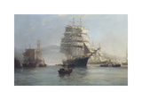 Chinese Port - Morning Departures Premium Giclee Print by Montague Dawson