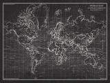 The Vintage Collection - Ocean Current Map - Global Shipping Chart - Reprodüksiyon