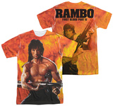 Rambo First Blood II - Fire (Front - Back Print) T-Shirt