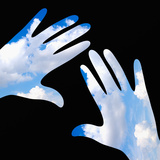 Hands with Blue Sky Prints by  goccedicolore