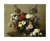 French Roses And Peonies Premium Giclee Print by Henri Fantin-Latour