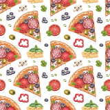 Seamless Pattern with Watercolor Pizza Illustrations Posters by Aleksandra Smirnova