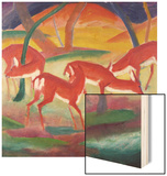 Red Deer; Rote Rehe 1 Wood Print by Franz Marc
