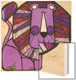 Purple Lion with Ant Wood Print