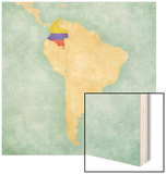 Map Of South America - Colombia(Vintage Series) Wood Print by  Tindo
