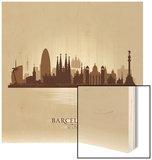 Barcelona Spain City Skyline Wood Print by  Yurkaimmortal