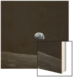 Earthrise and Lunar Horizon from Apollo 8 Wood Print