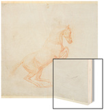 A Prancing Horse, Facing Right, 1790 (Red Chalk on Paper) Wood Print by George Stubbs