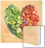 Green And Red Healthy Food Wood Print by  ifong