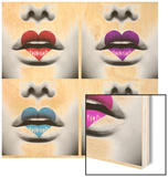 Fashion Abstract Collage Of Beauty Sexy Lips With Colorful Heart Shape Paint Wood Sign by Subbotina Anna