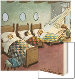 Wendy, Michael and John Sleeping, Illustration from 'Peter Pan' by J.M. Barrie Wood Print by Nadir Quinto