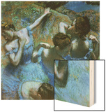 Dancers in Blue Wood Print by Edgar Degas