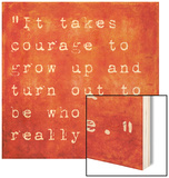 Inspirational Quote By E.E. Cummings On Earthy Red Background Wood Print by  nagib