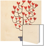 Heart Tree in Pot Wood Print