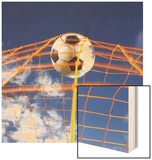 Soccer Ball Going Into Goal Net Wood Print by Randy Faris