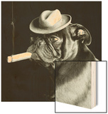 Pug smoking a cigar Wood Print by EJ Lowe
