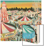 The Fair (Gouache on Paper) Wood Print by Clive Uptton