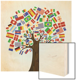 Flags Of The World Tree Wood Print by  cienpies