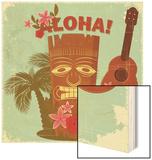 Vintage Hawaiian Postcard Wood Print by  elfivetrov