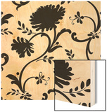 Black and White Floral Print with Three Blossoms Wood Print