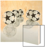 Five Soccer Balls Wood Print by  Newmann