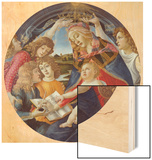 Mary with Child and Five Angels (Madonna Del Magnificat). Tondo, about 1481 Wood Print by Sandro Botticelli