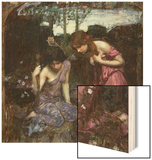 Nymphs Finding the Head of Orpheus Wood Print by John William Waterhouse