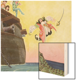 Illustration of Captain Hook Falling Overboard by Roy Best Wood Print