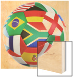 3D Rendering Of A Soccer Ball With Flags Of The Participating Countries In World Cup 2010 Wood Print by  zentilia