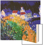 Village Houses by the Sea Wood Print by John Lowrie-Morrison