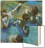 Four Ballerinas Straightening Up in the Wings Wood Print by Edgar Degas