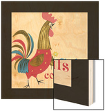 Rooster with Flower Wood Print