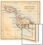 Map of the Maltese Islands, 1870s Wood Print