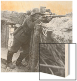 German Sniper in a Trench on the Western Front During World War I Wood Print by Robert Hunt
