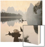Cormorant fishermen in Li River Wood Sign by Martin Puddy