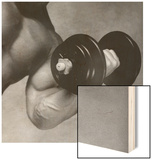 Close-up of a Man Lifting a Dumbbell Wood Sign
