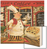 Coffee Chef Wood Print by K. Tobin