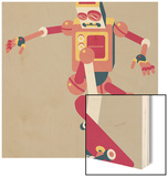 Robot doing trick on a skateboard Wood Sign by Sabet Brands