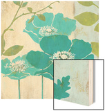 Modern Blue Poppy Wood Sign by Stefania Ferri