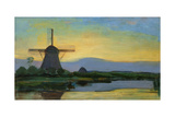 Oostzijdse Mill with Extended Blue, Yellow and Purple Sky, C.1907-Early 1908 Giclee-trykk av Piet Mondrian