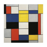 Large Composition with Black, Red, Grey, Yellow and Blue, 1919-1920 Giclée-trykk av Piet Mondrian