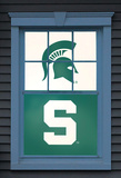 Michigan State University Sparty Dual WOWindow Poster Window Decal