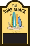 Surf Shack Chalkboard Wood Sign