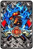 Fire Bulldog Tin Sign