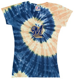 Ladies: MLB-Brewers Spiral V-Neck T-Shirts