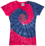 Ladies: MLB-Red Sox Spiral V-Neck T-Shirts