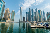 Dubai - AUGUST 9, 2014: Dubai Marina District on August 9 in UAE Photographic Print by  Elnur