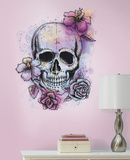 Bright Floral Skull Peel & Stick Gaint Wall Decal Decalques de parede